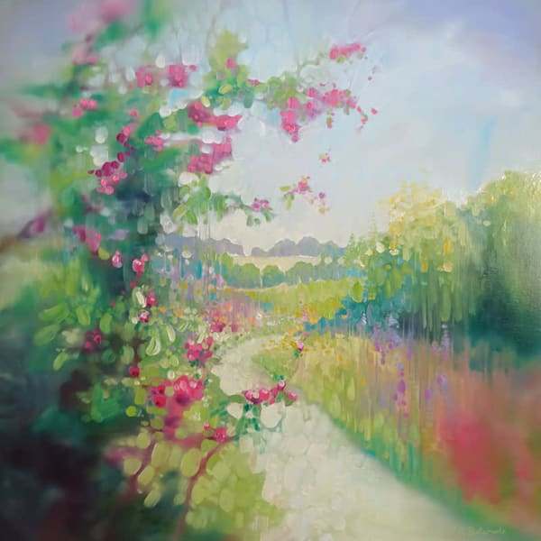 The Chalk Path is an oil painting of a winding white chalk path through the Sussex countryside in springtime
