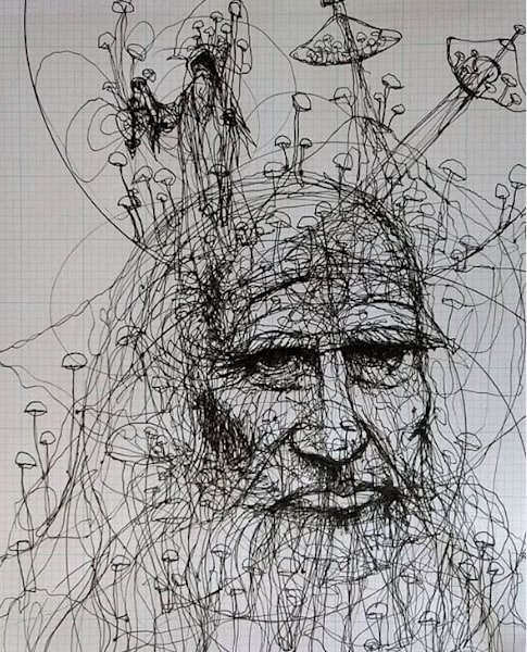 First Version: Da Vinci And The Magic Mushrooms Art | Gnarwhal Designs