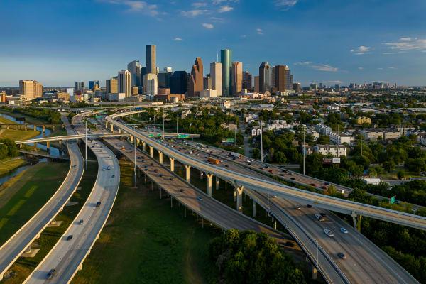 Aerial Skyline of Downtown Houston, Texas,