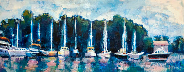 "High quality prints ordered by you, fulfilled through printing service and delivered directly to you. This image is ""Joyride 35 Annapolis Boats"" Shipyard painted by Monique Sarkessian. Gorgeous lush boats. Painting of boats in Annapolis,Maryland."