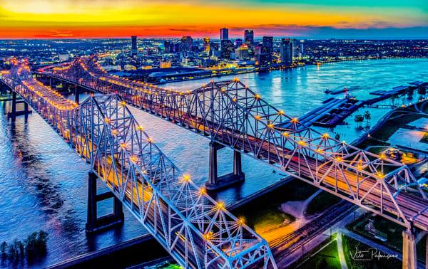 Cresent City Bridge New Orleans Skyline La Photography Art | vitopalmisano