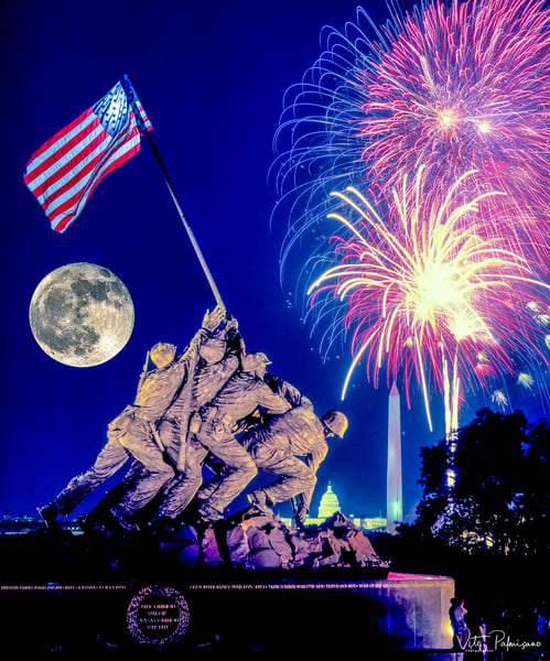 Iwo Jima Memorial Dusk, Fireworks, Full Moon & Washington, D.C.