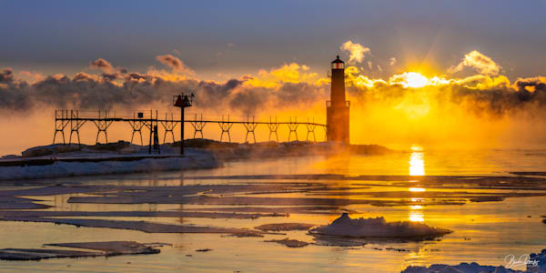Frozen Sunrise, Algoma Pierhead Lighthouse Photography Art | brucedanz