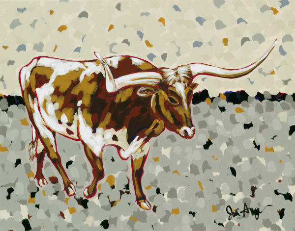 This is a print of an acrylic painting of a longhorn in a neutral background.
