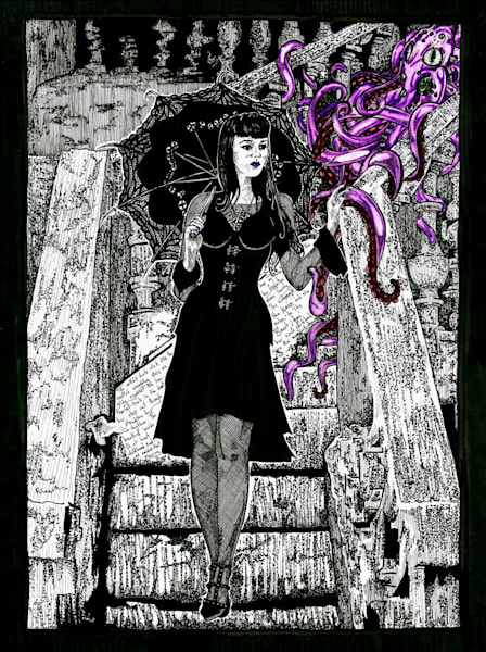 Original illustration of a Gothic Pinup Girl.