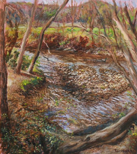 Swananoa River, Spring - Original Landscape Oil Painting for Sale - Asheville NC - Art of Jason Rafferty