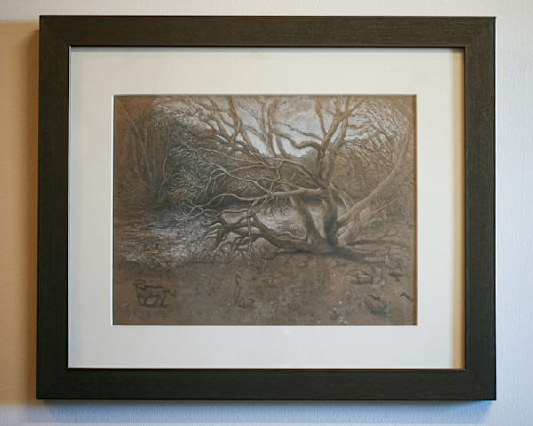 Catawba Tree in March - Original Drawing for Sale - Landscape Tree River - Art of Jason Rafferty - Asheville NC