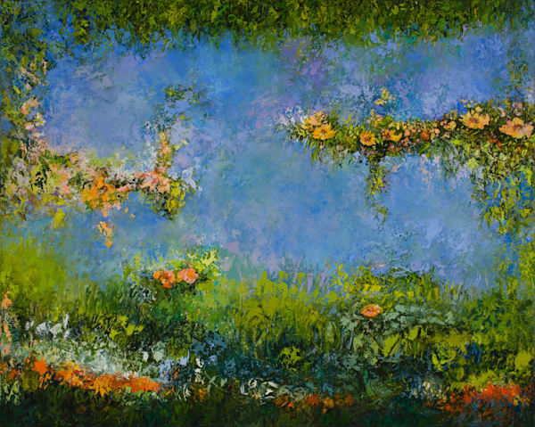 Large Blue Floral Painting Buy Award Winning Artist.
