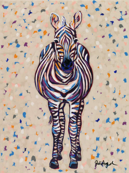Print of a painting of a colorful zebra named Fruit Stripe.