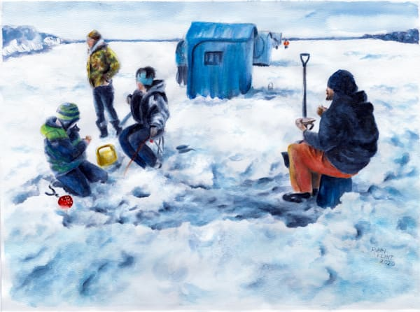 Minnesota Ice-Watercolor Painting of Ice Fishing