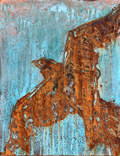 Raptor in Rust, original painting by Holly Whiting to benefit A Place Called Hope