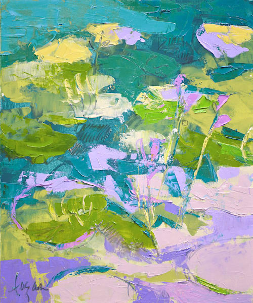 Small Abstract Waterlilies Painting by Dorothy Fagan