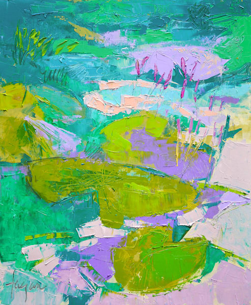 Abstract Waterlilies Oil Painting by Dorothy Fagan