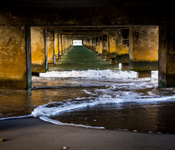 Under the Pier - sunrise under Hanalei Bay pier in Kauai photograph print
