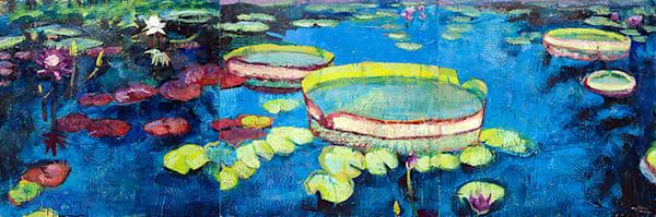 Longwood Gardens Waterlilies 3 part Triptych Encaustic Wax Painting