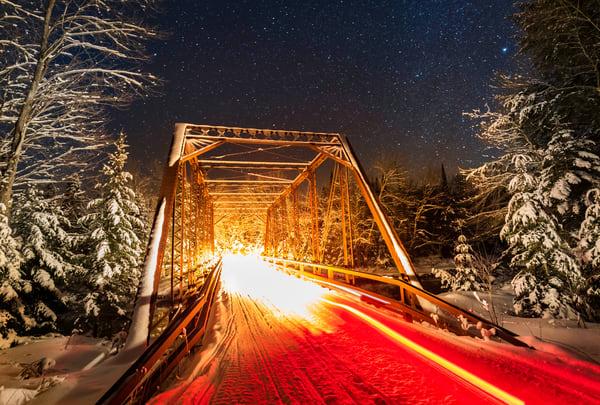 Snowmobile Trail 8 Bridge Night Photography Art | Kurt Gardner Photogarphy Gallery