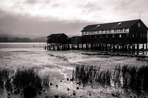 Morning Stillness in Black and White - Nothern California coast boat house photograph print
