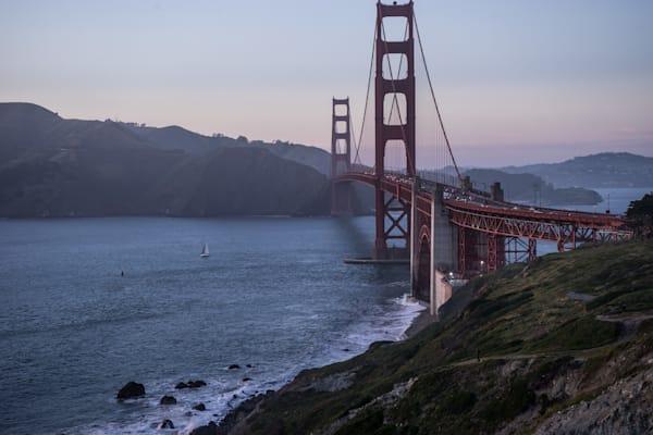 Golden Gate Bridge at Sunset - San Francisco California coast landscape photograph print