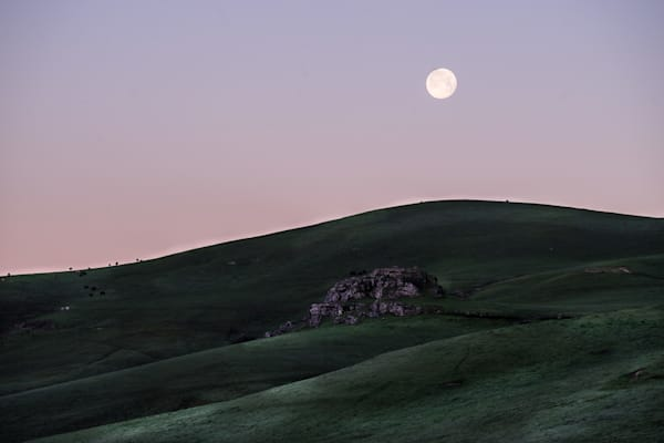 Full Moon at Dawn - California country landscape photograph print