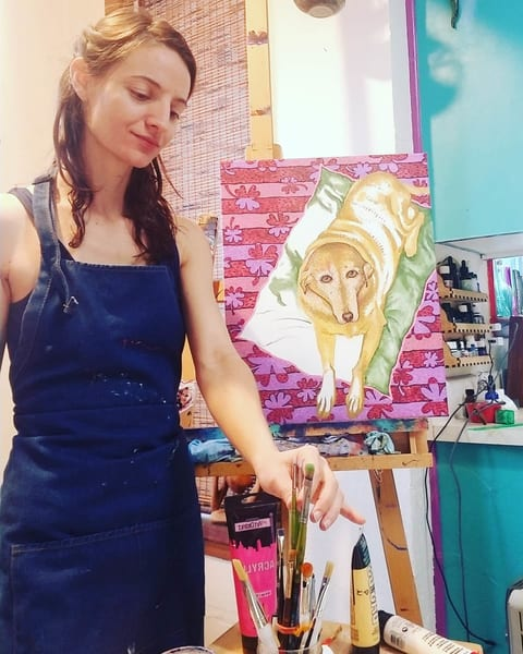 Adelaide And Lucky Dog In Progress Art | Adelaide Marcus