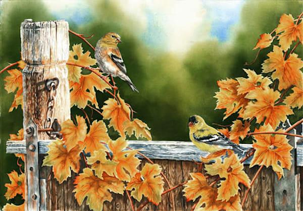 Goldfinch Autumn Original Watercolor Painting Art | Debbie Friis-Pettitt Fine Art Watercolors