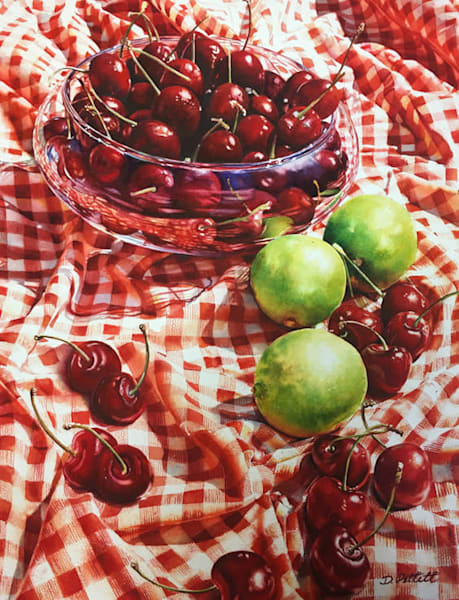 Cherries and Limes original watercolor painting