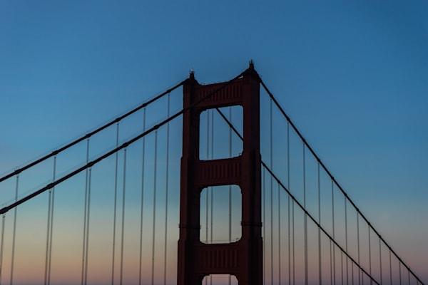 Looking Up - Sunset at Golden Gate Bridge San Francisco California photograph print