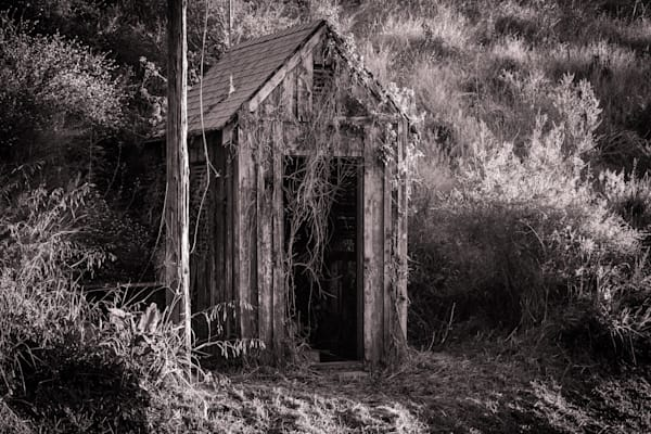 Antique Shed in Black and White - California old building architecture photograph print