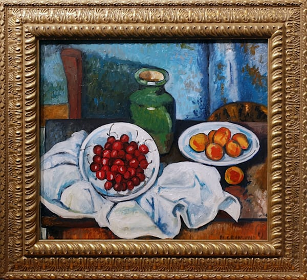 Hand-Painted Reproduction of a Hand-Reproduced Copy of Cezanne's Still Life with Plate of Cherries by Mark Granlund