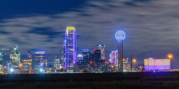 Kobe Tribute Dallas Skyline - Dallas City Skyline Picture | William Drew