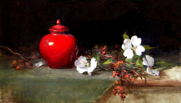 Red Vase with Dogwood