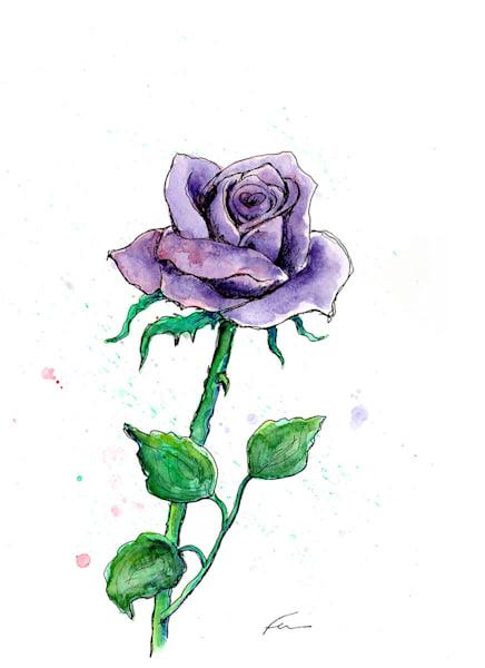 Purple Rose Watercolor | Fer Caggiano Art