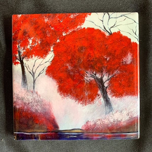 Red Trees In The Fog | Marie Art Gallery