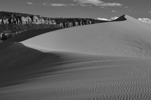 Black and white photo of Coral Pink Sand Dunes