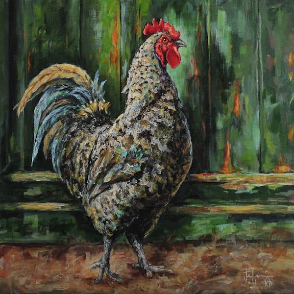 Rooster By A Green Door Art   Joan Frimberger Fine Art