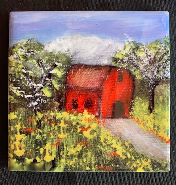 Little Red Barn by Marie Art Gallery/Marie Studios