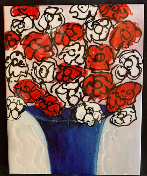 Bouquet Of Puppies And Flowers | Marie Art Gallery