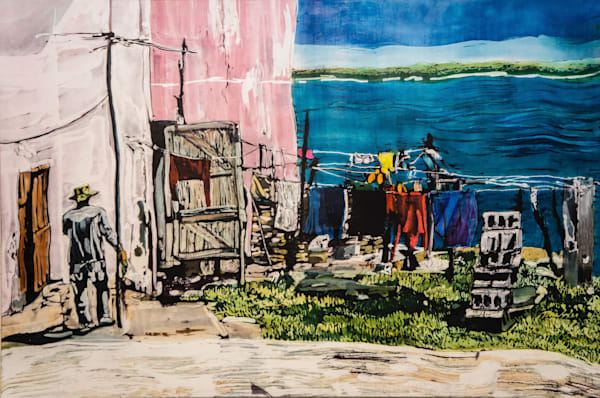 Wash Day! Gibara Bay Art | M.C. Gill Tropical Art at the Funky Flamingo Studio