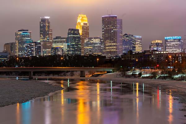Minneapolis Winter on the Mississippi River - Minneapolis Cityscape Art
