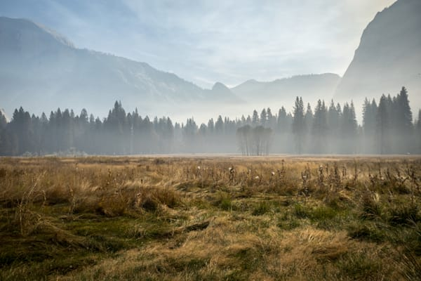 Fall in Ahwahnee Meadow - Yosemite National Park California landscape photograph print