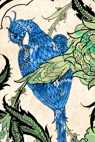 Iznik Palace Bird With Bloom No. 1 Art | Elena Lipkowski Fine Arts, LLC