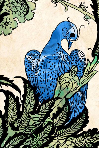 Iznik Palace Bird With Bud No. 1 Art | Elena Lipkowski Fine Arts, LLC