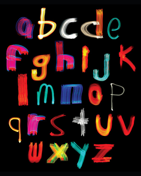 Alphabet Lower Case #1 Light Paintings Photography Art | David Louis Klein