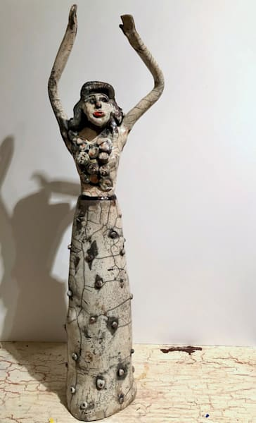 """Glory Carrier 1"" Prophetic art ceramic raku ceramic daughter of heaven worshiper sculpture with jewel motifs by Monique Sarkessian."