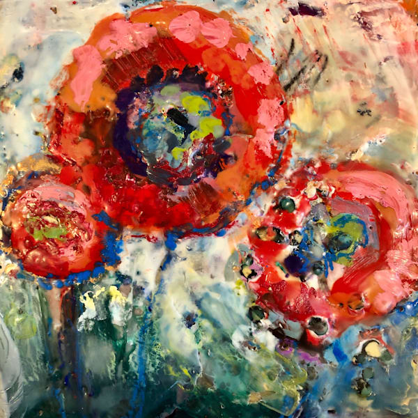 "Stunning encaustic wax painting ""Poppy Blitz 3"" by Monique Sarkessian encaustic wax and mixed media on wood cradleboard measures 6"" x6, framed with a white wood frame."