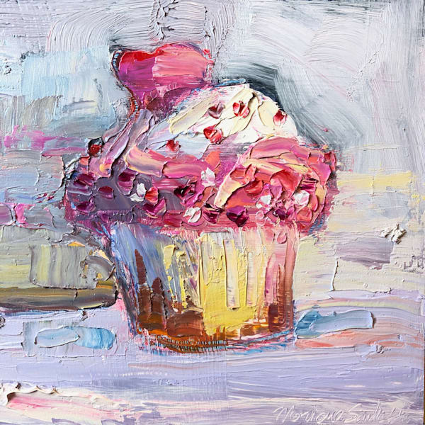 "Still life floral ""Sweet 2""  by Monique Sarkessian still Llife with pink heart cupcake oil painting.."