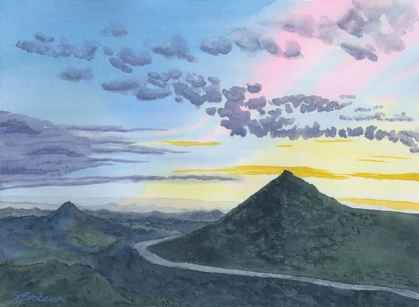 DOC001 - Watercolor painting - Sunset View from Valley Center New Years Day 2018- PS Paint Daubs 300