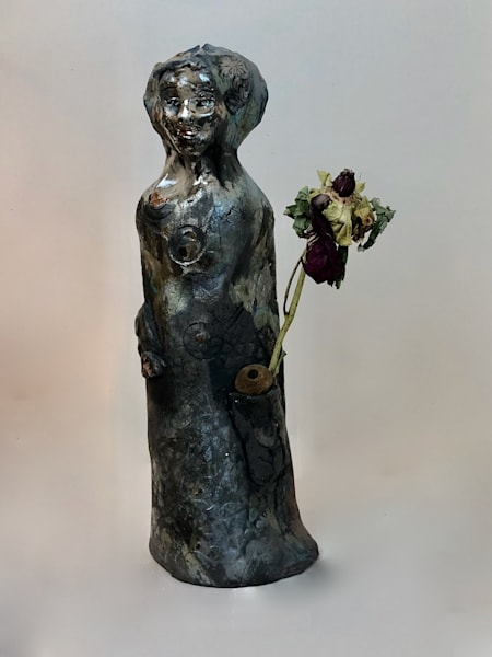 """Peony Glory Carrier ""Prophetic art ceramic raku ceramic daughter of heaven worshiper sculpture with jewel motifs by Monique Sarkessian, 14x4x4""."