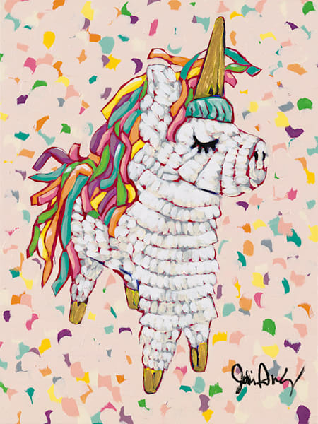Queen is an original acrylic painting of a unicorn pinata by Jodi Augustine.