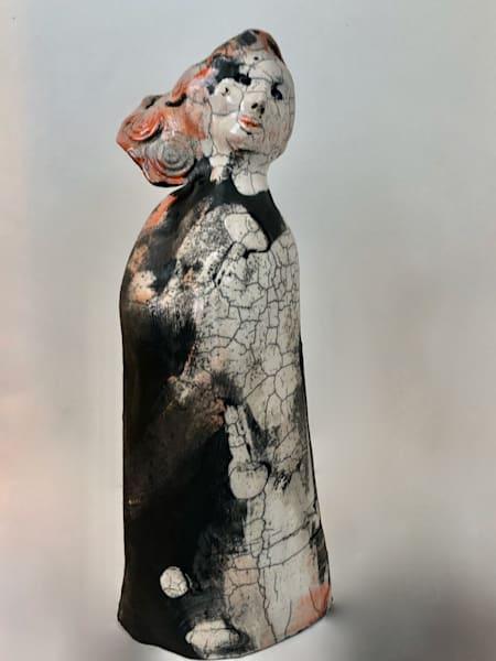 """Allium  Glory Carrier ""Prophetic art ceramic raku ceramic daughter of heaven worshiper sculpture with jewel motifs by Monique Sarkessian, 14x4x4""."""